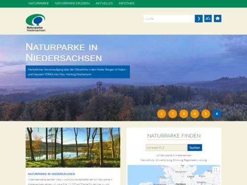 Bildschirmfoto der Internetseite niedersachsen.naturparke.de