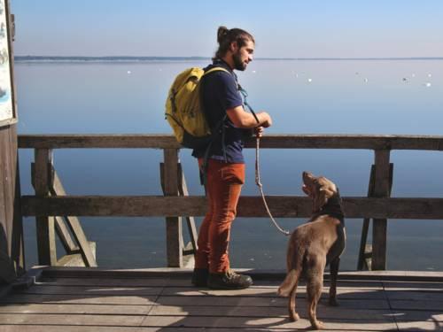 Ein Mann trägt einen Rucksack und führt einen Hund an der Leine. Er trägt ein blaues Poloshirt mit dem Logo des Naturparks Steinhuder Meer.
