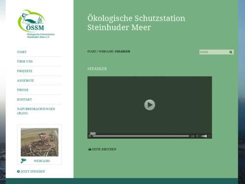Vorschau auf die Internetseite mit der Webcam ins Adlernest