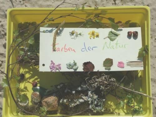 """In einer gelben Kiste liegen Naturmaterialien, zwei Kronkorken und ein Schild mit den Worten """"Farben der Natur""""."""