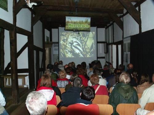 Menschen sitzen auf Stühlen und schauen einen Tierfilm auf einer großen Leinwand.