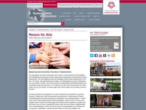 Vorschau auf die Webseite tourismuspartner-niedersachsen.de/reisen-fuer-alle
