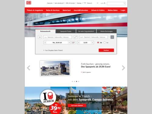 Internetauftritt der Deutschen Bahn