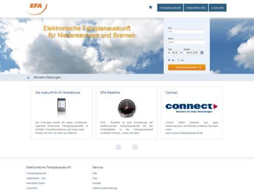 Vorschau auf efa.de, die Elektronische Fahrplanauskunft für Verbindungen von Bussen, Bahnen, Stadtbahnen im Nahverkehr und Fernverkehr in Niedersachsen und Bremen.