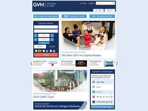 Vorschau auf gvh.de, den Internetauftritt des Großraum Verkehr Hannover