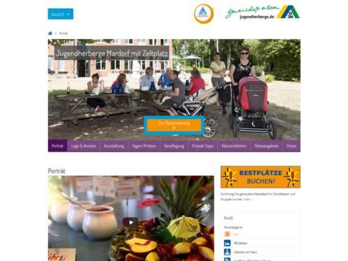 Vorschau auf den Internetauftritt der Jugendherberge Mardorf