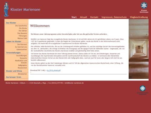 Internetauftritt des Klosters Mariensee