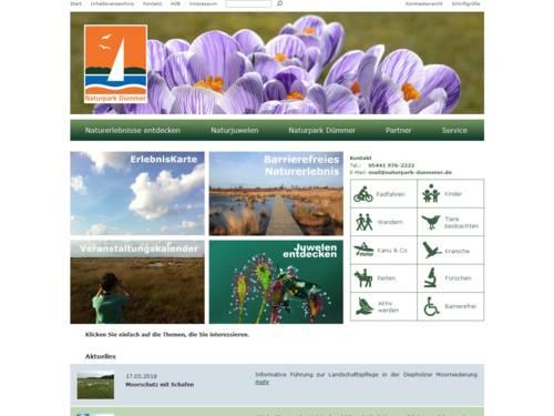 Vorschau auf den Internetauftritt des Naturparks Dümmer