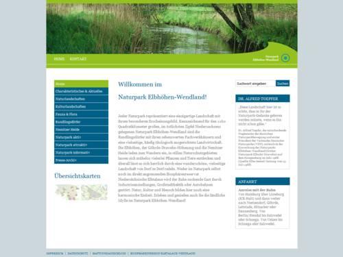 Vorschau auf den Internetauftritt des Naturparks Elbhöhen-Wendland