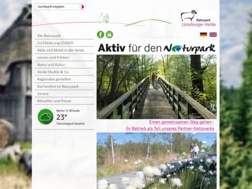 Vorschau auf den Internetauftritt des Naturparks Lüneburger Heide