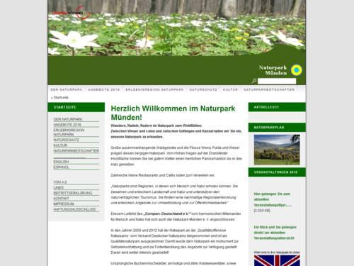 Vorschau auf den Internetauftritt des Naturparks Münden