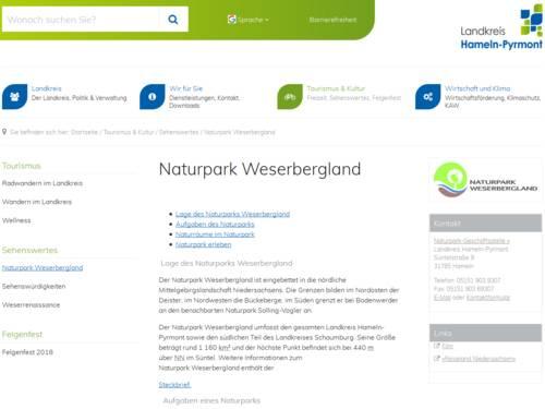Vorschau auf den Internetauftritt des Naturparks Weserbergland.