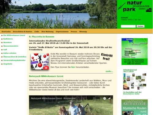 Vorschau auf den Internetauftritt des Naturparks Wildeshauser Geest