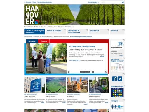 Vorschau auf den Internetauftritt der Verwaltung Region Hannover.