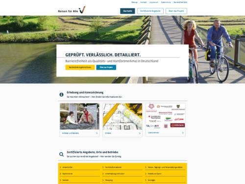 Vorschau auf das Internetportal Reisen für Alle