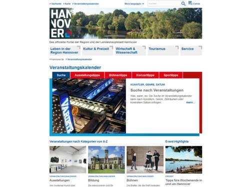 Veranstaltungskalender auf hannover.de