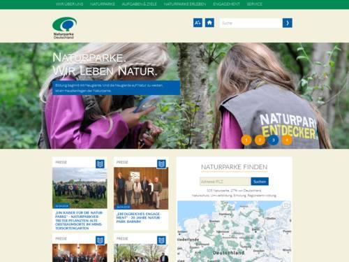 Vorschau auf den Internetauftritt des Verbands Deutscher Naturparke