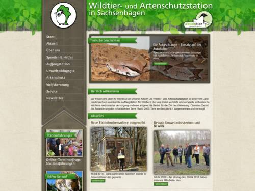 Vorschau auf den Internetauftritt der Wildtier- und Artenschutzstation Sachsenhagen
