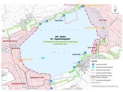Vorschau auf die Karte mit den Kanueinsatzstellen am Steinhuder Meer (per Klick als pdf herunterladen)