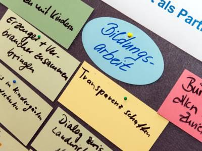 Per Hand beschriebene Moderationskarten hängen an einer Metaplanwand.