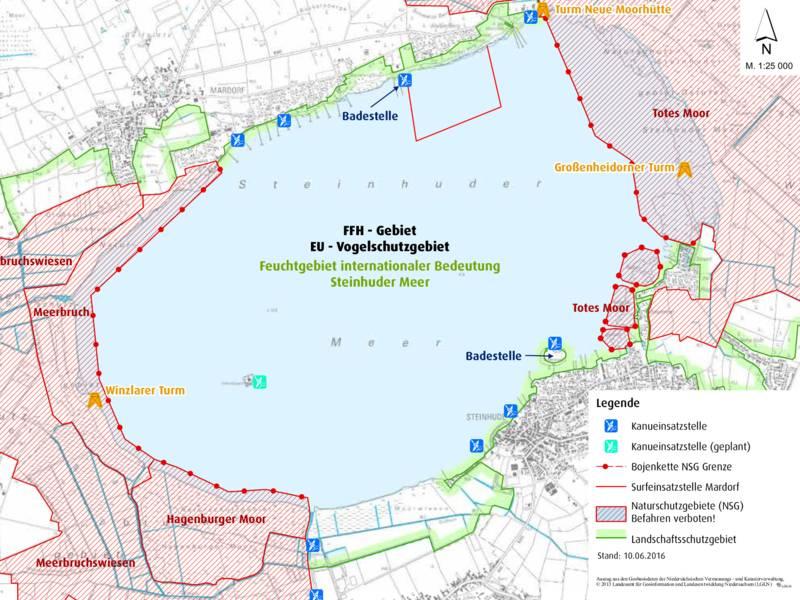 Karte des Steinhuder Meeres mit Zonen, die Wassersportlerinnen und Wassersportler nicht befahren dürfen.
