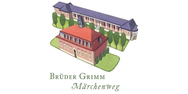 """Logo: Gezeichnete historische Gebäude und Bäume. Darunter der Text: """"Brüder Grimm Märchenweg"""""""