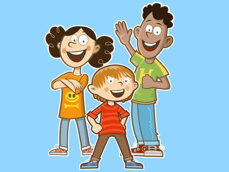 Zeichnung: Drei Kinder stehen in unterschiedlichen Körperhaltungen nebeneinander.