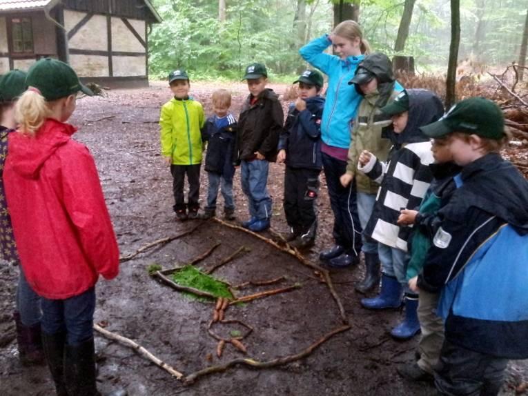 Kinder stehen um ein Bild herum, das auf dem Waldboden aus Ästen, Blättern und Moss gelegt wurde. Das Bild zeigt die Umrisse eines Rehs.
