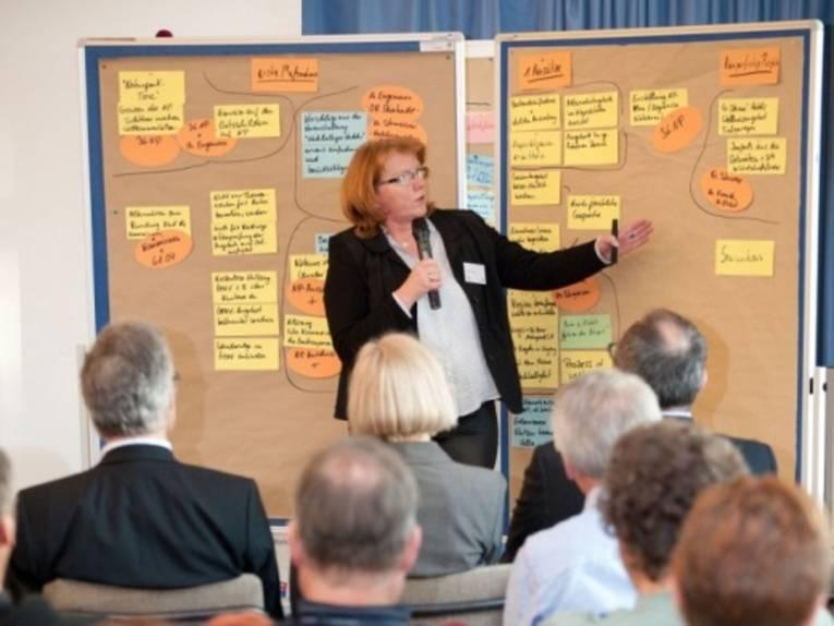 Eine Frau präsentiert an einer Metaplanwand und mit einem Mikrofon in der Hand Ergebnisse, die auf Moderationskarten geschrieben wurden.