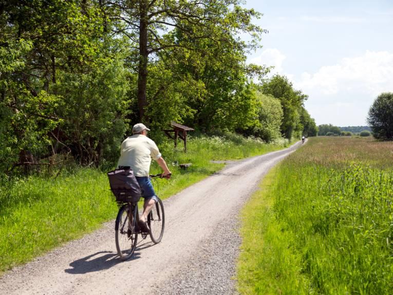 Ein Mann fährt auf einem Fahrrad durch grüne Landschaft.
