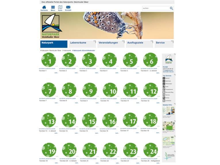 Vorschau auf den virtuellen Adventskalender für den Naturpark Steinhuder Meer.