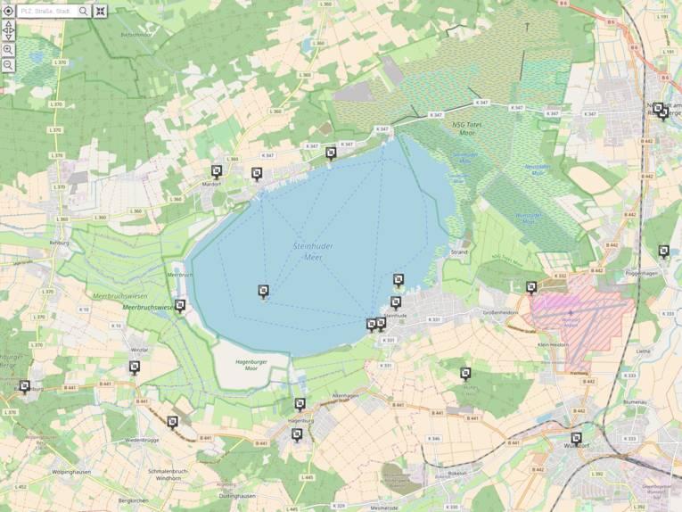 Vorschau auf die Erlebniskarte Naturpark Steinhuder Meer mit Sehenswürdigkeiten.