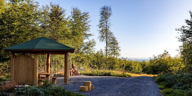 Ein Holzpavillon bietet wettergeschützte Sitzplätze, im Hintergrund sind eine Tafel mit einem Sagentext und eine geschnitzte Holzfigur passend zur Sagengeschichte. Rechts daneben geht es weiter auf dem Märchenweg. Am Horizont zeichnen sich die Rehburger Berge ab.