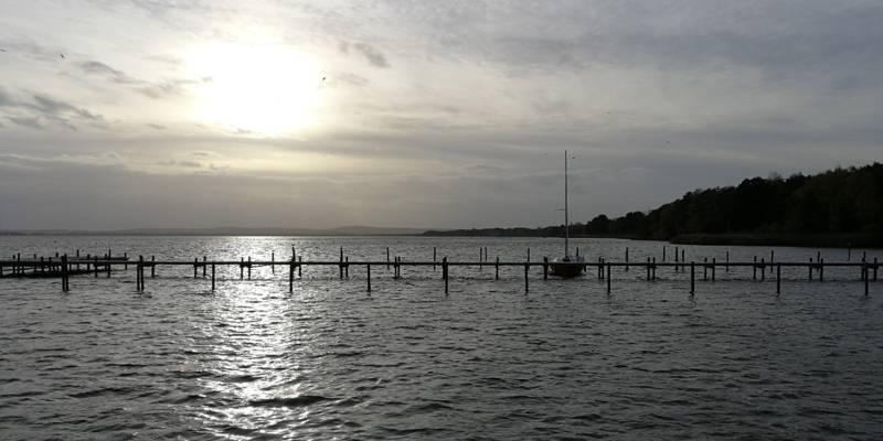 Über einem Steg am Steinhuder Meer geht die Sonne unter. An dem Steg ist ein einzelnes Boot vertäut.