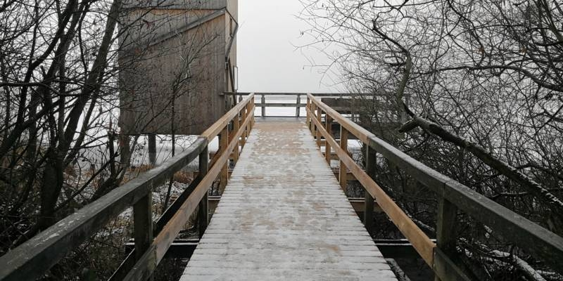 Blick über den Steg am Winzlarer Aussichtsturm vorbei auf das Steinhuder Meer. Auf dem Steg liegt etwas Schnee, darin sind Fußspuren.