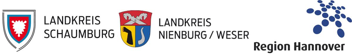 Von links nach rechts: Logo Landkreis Schaumburg, Logo Landkreis Nienburg / Weser und Logo Region Hannover.